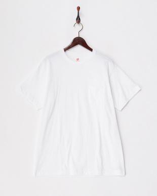 ホワイト  クルーネックポケットTシャツ見る