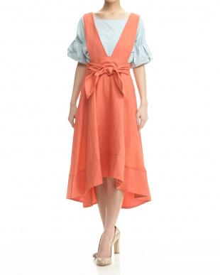 オレンジ リネンフレアロングスカート見る