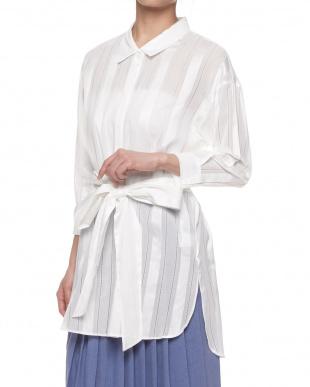 ホワイト ハシゴレースチュニックシャツ見る