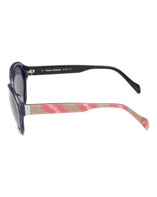 ネイビー/ピンク  テンプル柄デザインサングラス見る