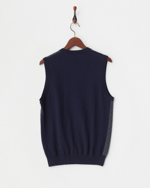navy  ニット HI-G BIRDS EYE VEST 14G見る
