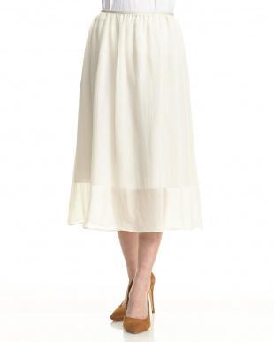 オフホワイト  シアーラメギャザースカート見る