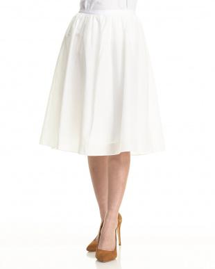 オフホワイト コットン×シルク ギャザースカート見る