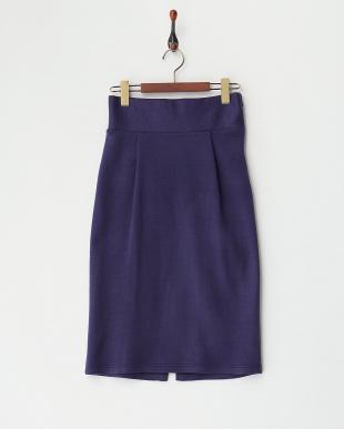 ネイビー  シンプルリブタイトスカート見る