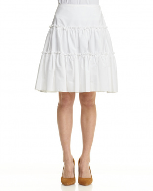 ホワイト フリルティアードスカート見る