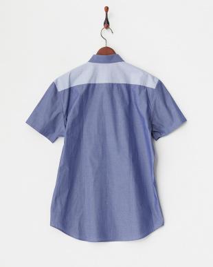 ブルー ストライプ&ボーダー切り替え半袖シャツ見る