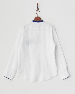 白 配色ポイントバンドカラーシャツ見る