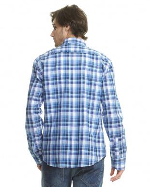 ブルー×白 チェックボタンダウンシャツ見る
