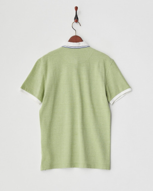 グリーン レイヤーデザイン衿 配色ポロシャツ見る