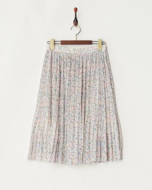 ベージュ  小花プリントプリーツスカート見る