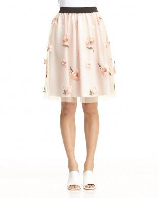 ベージュ チュール花柄刺繍スカート見る