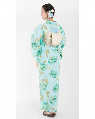 ライトブルー系 紫陽花 浴衣単品|WOMEN見る