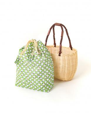 グリーン系 籐製かご巾着バッグ|WOMEN見る