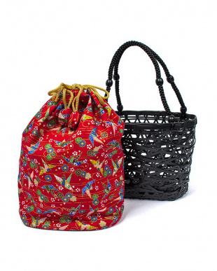 レッド系 竹製かご巾着バッグ|WOMEN見る