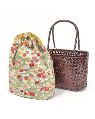 グリーン系 竹製かご巾着バッグ|WOMEN見る