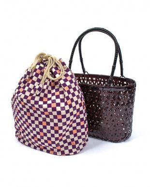 パープル系 竹製かご巾着バッグ|WOMEN見る