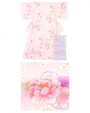 ピンク 牡丹+小桜 着物&帯2点セット見る