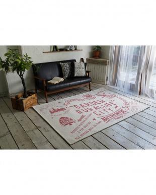 ピンク  ゴブラン織りシェニールラグ ルーラル 190×190cm見る