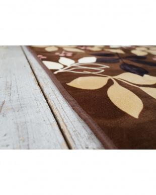 ブラウン  洗えるプリントラグ ルサリィ 130×185cm見る