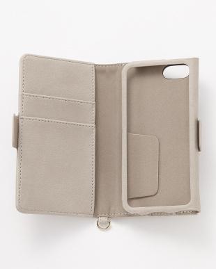 グレー iPhoneSE/5s/5用 ドローイングハート 手帳型ケース見る