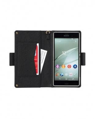 ブラック ポケット付き スマートフォン用手帳型マルチケース見る