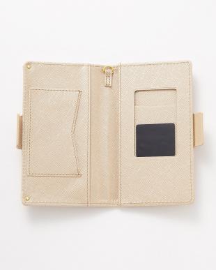 ゴールド  ポケット付き スマートフォン用手帳型マルチケース見る