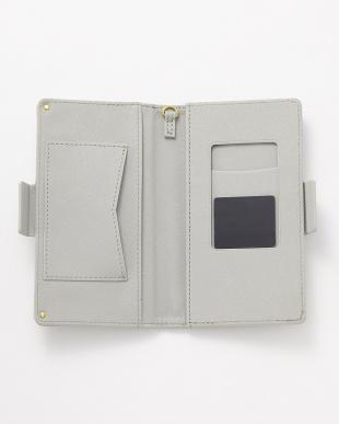 グレー ポケット付き スマートフォン用手帳型マルチケース見る