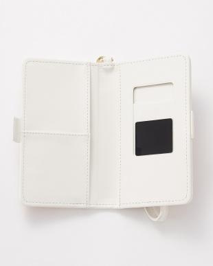 ホワイト  水彩フラワー スマートフォン用手帳型マルチケース見る