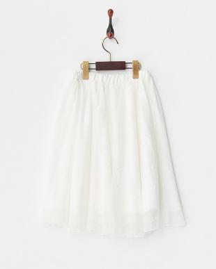 ホワイト  チュールギャザースカート見る