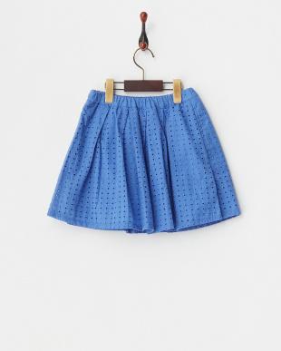 ブルー  幾何レース柄スカート見る