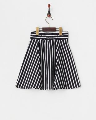 ネイビー  ストライプ柄ポンチスカート(140以上)見る