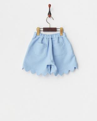 ライトブルー 裾スカラップ リボン付きショートパンツ見る