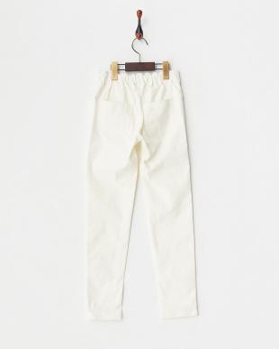 ホワイト リボン付きストレッチパンツ(140以上)見る
