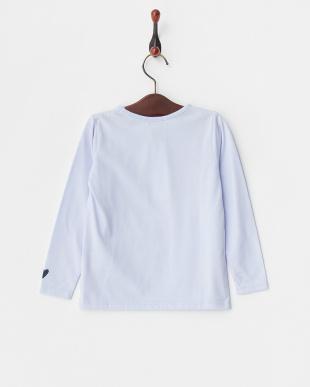 ライトブルー  レタードロングTシャツ見る