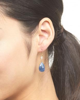 ブルーオパール 10K×ブルーオパール カットドロップピアス見る