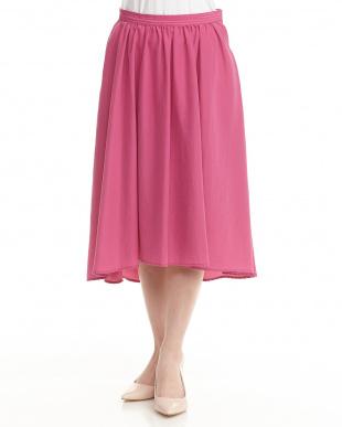 ピンク  バックテールギャザースカート見る
