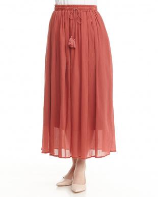 オレンジ  コットン楊柳スカート見る