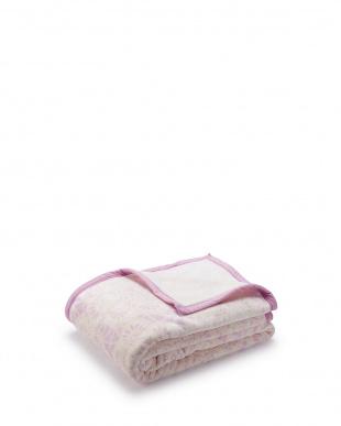 パープル  フラワーレース柄 ポリエステルニューマイヤー毛布 シングル見る