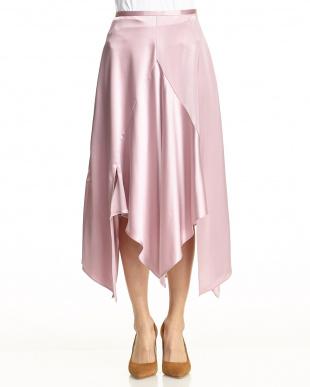 Pink  カラーサテンラッフルスカート見る