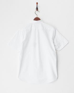 ホワイト  メガネ刺繍半袖シャツ見る