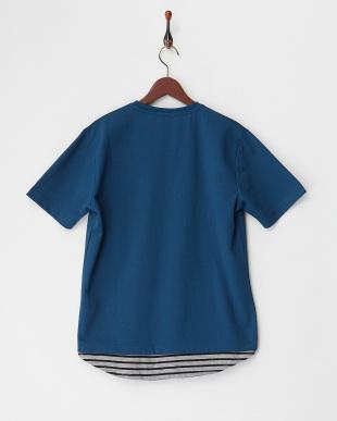 ブルー  フェイクレイヤードTシャツ見る