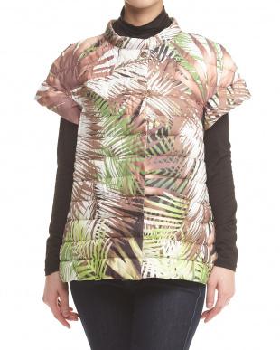 ホワイト×ブラウン×グリーンミックス 椰子柄プリントフレンチ袖中綿スプリングジャケット見る
