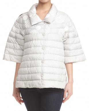 クリーム系 コンビ柄中綿半袖スプリングジャケット見る
