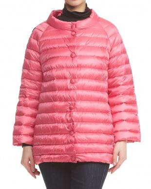 ピンク 7分袖スプリングダウンジャケット見る