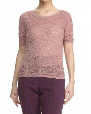 ピンク  チュールタンクトップ付き 透かし柄半袖セーター見る