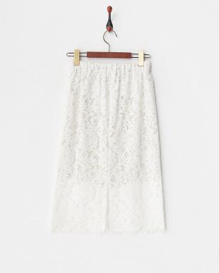 オフホワイト レースタイトスカート見る