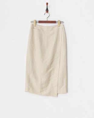 ベージュ  リネンレーヨンラップタイトスカート見る