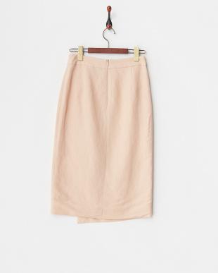ピンク  リネンレーヨンラップタイトスカート見る