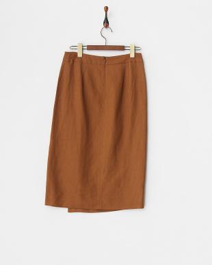 ブラウン  リネンレーヨンラップタイトスカート見る