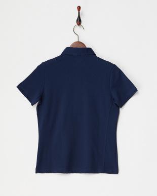 NV  レディス 衿裏ドット ハーフジップ半袖シャツ UVカット・吸汗速乾見る